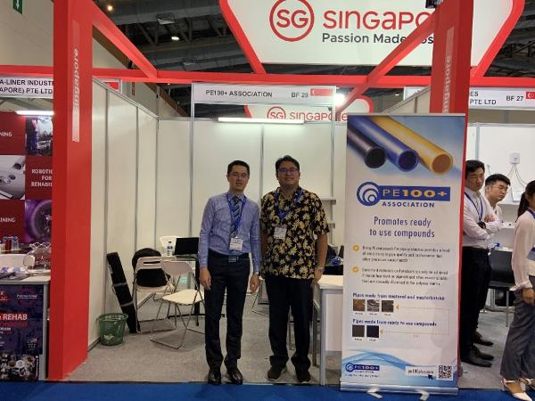 The PE100+ booth in IndoWater 2019 was represented by Borouge and SCG